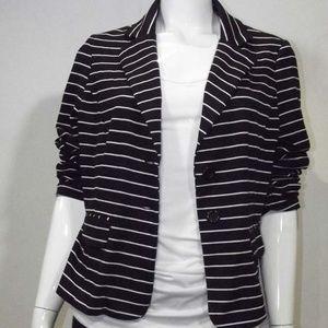 Soft XL Striped Black & White Women's Blazer